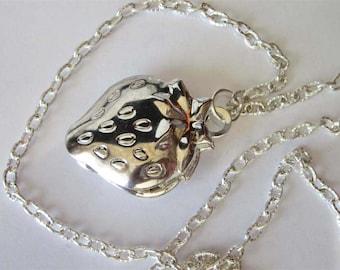 Strawberry Locket, Antiqued Silver, Locket Necklace, Memoir Necklace, Strawberry Pendant Necklace, New Mom Gift, Fruit Jewelry