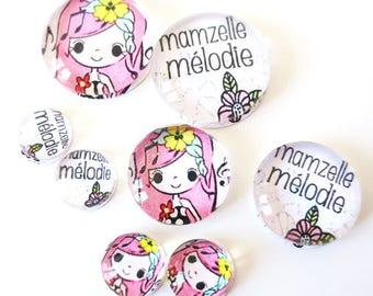 "Lot 8 cabochons theme ""MAM ' MISSY - Melody"" (craftsmanship) 12mm / 20mm / 25mm"
