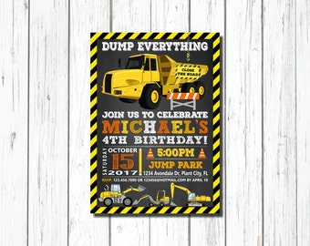Construction Birthday Invitation, CONSTRUCTION INVITATION, Construction, Chalkboard, Printable, Dump Truck, construction,  Excavator