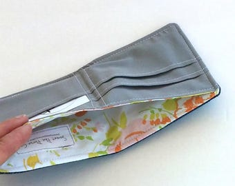 Customizable Denim Wallet with a Vintage floral lining, Vegan, Slim cotton wallet perfect for men, women or kids