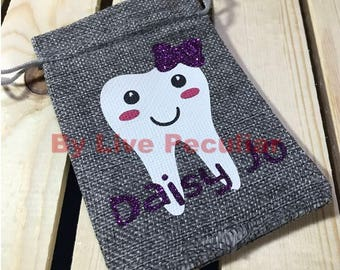 Burlap Tooth Pouch - Tooth Fairy Bag - Personalized - Boy or Girl Tooth Pouch