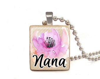 Nana Necklace | Mother's Day Necklace | Necklace for Nana | Nana Gift | Nana Charm | Nana Flower Necklace | Grandma Necklace | Flower