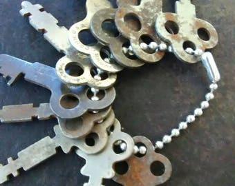 Lot of 10 Vintage Flat Keys with BONUS Heart Shaped Flat Key