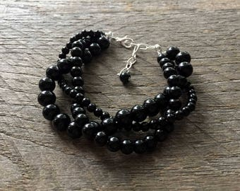Black Pearl Wedding Bracelet, Braided Pearl Bracelet, Pearl Bridal Bracelet, Multi Strand Statement Bracelet on Silver or Gold Chain