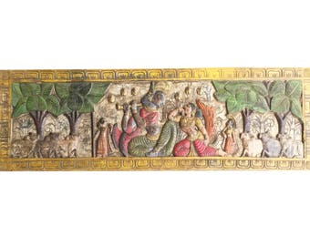 Indian Antique Vintage Krishna Fluting with Radha Headboard Wall Sculpture, Yoga, mediation Decor FREE SHIP