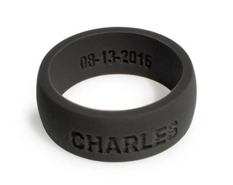 Silicone Ring DARK GRAY Anniversary Gift Premium Silicone Wedding Rings For Men Personalized  Custom Wedding Ring Gift for Husband Safe Ring