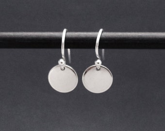 Tiny Sterling Silver Disc Earrings, Small Circle Drop Dangle Earrings