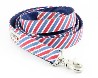 Red White Blue Stripes Dog Leash