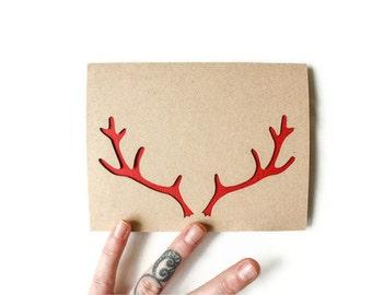 Reindeer Antlers Christmas Card: Laser Cut reindeer Antlers - Custom Color - Custom Text