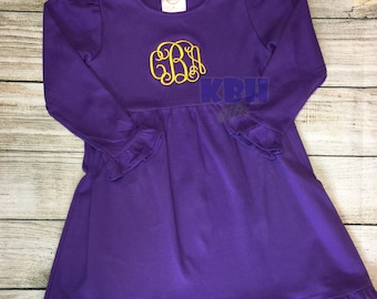 Embroidered Purple and Gold Ruffle Dress