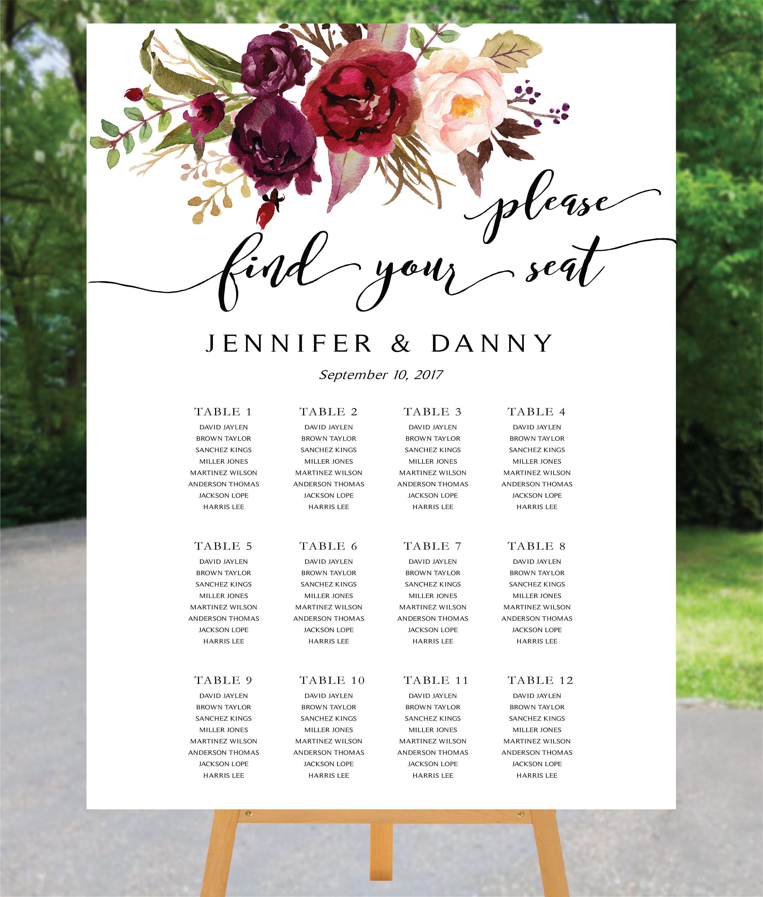 Printable Seating Chart For Wedding Reception: Printable Wedding Seating Chart Poster Wedding Seating Chart