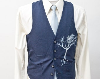 Men's Suit Vest / Upcycled Vintage Blue Vest with Screen Printed Tree / Size 35 Small