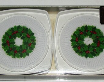 Vintage Hallmark Melamine Plastic Christmas Wreath Drink Coasters in Original Box