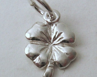 Genuine SOLID 925 STERLING SILVER 4 Four Leaf Clover  charm/pendant