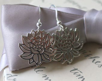 Sterling Lotus cut out Earrings