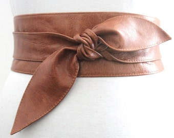 Distressed Tan Brown Leather Obi Belt, tulip tie Belt, Western Leather Belt, Corst Leather Belt, Bridesmaid belt, Plus Size Belt