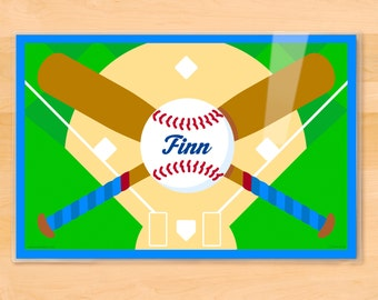 Olive Kids Personalized Baseball Placemat, Kids Placemat, Sports Placemat, Boys Placemat, Laminated Placemat