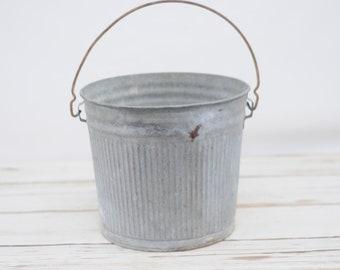 Vintage Ribbed Galvanized Bucket C14 Galvanized Pail