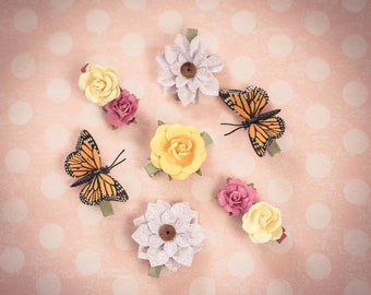 Butterfly Hair Clips - Flowers Hair Clips