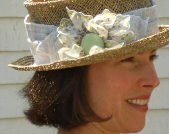 Straw Summer Hat - Sun Hat -  Ladies  Mad Hatter Hat - Blue Linen - Vintage Hankie Flower