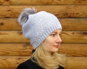 Women knit hat women pom pom beanie fox fur pom pom hat gray wool hat women pompom hat real fur pompom beanie gray beanie hat gray knit hat