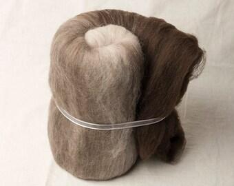 Super soft natural merino large gradient batt for spinning or felting (170097)