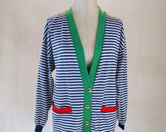 Funky Striped Color Black Cardigan Sweater Shirt Top