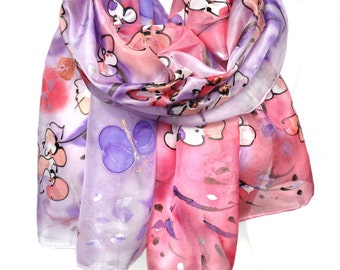 Hand Painted Scarf. Pink Silk Scarf. Almond Tree Scarf. Anniversary Birthday Gift for Her. Genuine Silk Art. 18x71in (45x180cm) MADE2ORDER