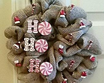 HoHoHo mini burlap wreath