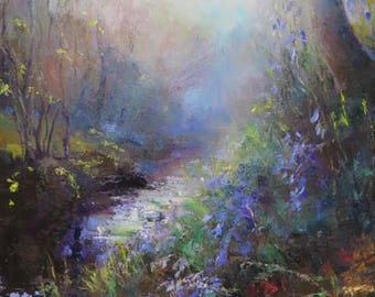 SOLD Blue bells by stream in evening light  - SOLD