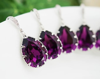 10% OFF SET of 5 Wedding Jewelry Bridesmaid Gift Bridesmaid Jewelry Bridesmaid Earrings Amethyst Swarovski Crystal Tear drops