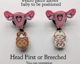 Nurse Gift, Uterus Badge reel, nurse badge reel, baby badge reel, Maternity Nurse, Nurses id tag, interchangeable, Name Badge, Badge Holder