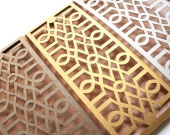 Laser Cut Belly Band, Modern Trellis Geometric Design: Custom Color