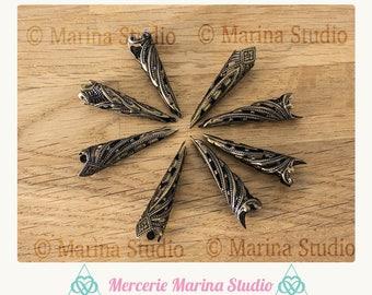 5 beautiful rare prints 10x35mm bronze filigree bead caps cones