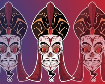 Jafar Sugar Skull 2x4 Vinyl Sticker