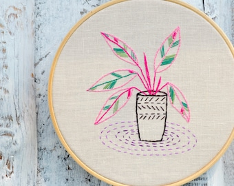 Embroidery pattern, PDF hand embroidery pattern, houseplants embroidery, Botanical embroidery, calathea plants by NaiveNeedle