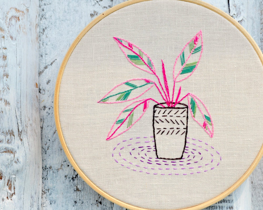 Embroidery pattern pdf hand embroidery pattern houseplants for Embroidery office design version 9