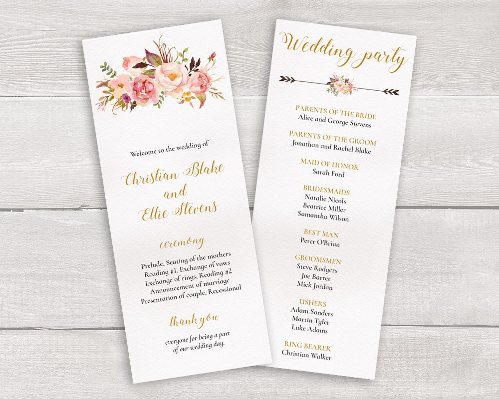 Blumen Hochzeit Programm Vorlage wunderliche Hochzeit