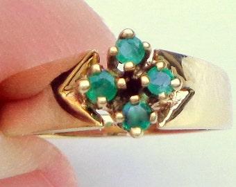 Size 5.25, 14K Gold Emerald Ring  Solid Yellow Gold Band, Estate Jewellry, Emerald Ring, Diamond Shape