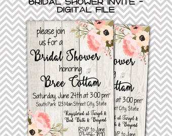 Rustic Bridal Shower Invitation-Digital File