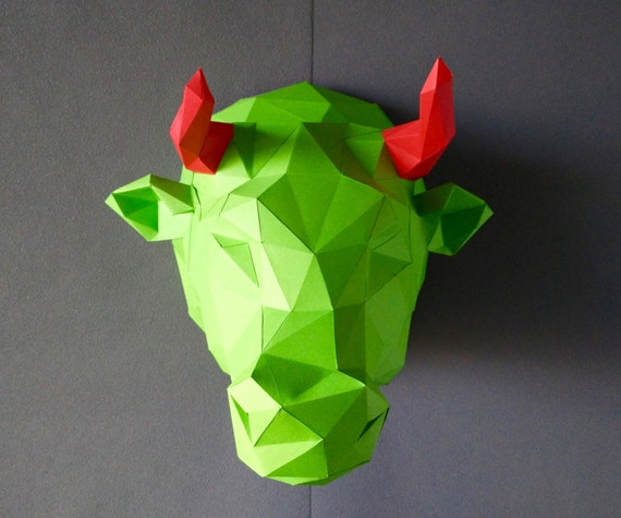 Bull kit do by yourself bull diy kit room decor paper craft bull kit do by yourself bull diy kit room decor paper craft wall decor paper animal head diy paper craft paper bull origami from yumegamishop on solutioingenieria Choice Image