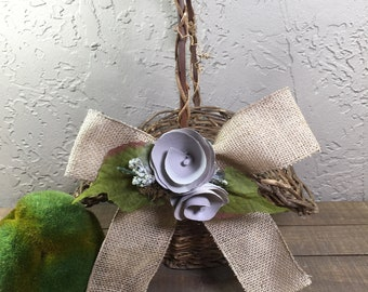 Rustic Wedding Flower Girl Basket / Twig Flower Girl Basket / Flower Girl Basket /