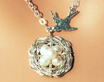 Five Egg, Pearl Bird Nest, Sterling Silver Necklace - Mama Bird & White Pearl Nest of 5 - Grandmother / Mother's Day Gift