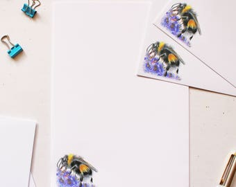 Floral Bumble Bee Letter Writing Paper - Letter Writing Set - Sheets and Envelopes -  Designed By CottageRts Gift Perfect Birthday Gift