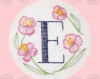 Monogram Flower PDF Pattern - E is for Evening Primrose