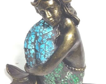 Quick View. Mermaid Arms Bent Blue Crackle Glass Tiffany Style Desk Table  Lamp
