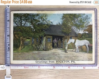 10%OFF3DAYSALE Vintage Old Post Card Greetings From Rockton Pa Post Marked 1916 Used