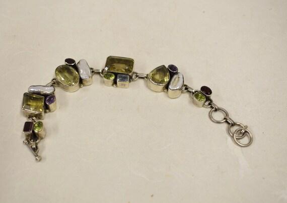 Bracelet Sterling Silver Citrine Amethyst Pearls Peridot Aquamarine Handmade Purple Yellow Blue Green Gift for Her Jewelry Bracelet