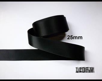 * ¤ 1 meter black satin ribbon - 25mm ¤ * #CR21