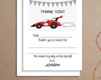 Fill-in Thank You Notes - Race Car Flat Notes - Childrens Thank You Cards- Illustrated Note Cards